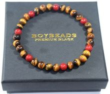 "#8 ""Octavius"" Small 6mm tiger eye, red coral handmade bead bracelet"