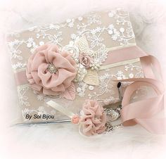 Wedding Guest Book Signature Book and Signing Pen by SolBijou