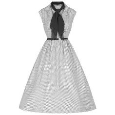 Retro Style Turn-Down Collar Sleeveless Polka Dot Ball Gown Dress For... (345 ARS) ❤ liked on Polyvore featuring dresses, collar dress, white polka dot dress, polka dot collar dress, white collar dress and white sleeveless dress