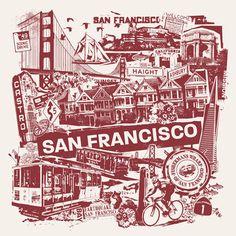 SFO Art | san francisco art print Chicago, New York, Seattle and San Francisco ...