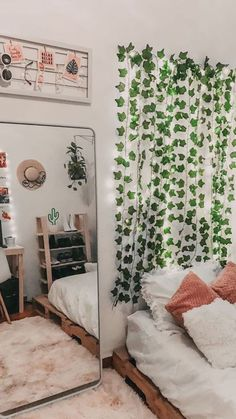 15 Inspirational Living Room Decor Ideas wayfair living room, h. 15 Inspirational Living Room Decor Ideas wayfair living room, home living room dec Room Ideas Bedroom, Dream Bedroom, Bedroom Inspo, Decor Room, Cute Diy Room Decor, Dorm Wall Decorations, Diy Bedroom, Big Mirror In Bedroom, Room Lights Decor