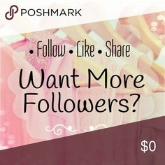 My 1st Follow Game I'm coming upon my 2 month Posh anniversary, and thought what better way to celebrate than a Follow Game! You know the drill!  Like this post, follow everyone else who likes it, and then please share it so others see!  Happy Poshing, everyone!                                            Accessories