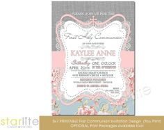 First Communion Invitation - burlap lace pink blue floral - 5x7 vintage style - don't care so much for some of the typography, but I'm sure that could be fixed.
