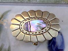 Vintage Alpaca Silver Abalone Hinged Trinket Box, Pill Box, Vanity Box, Oval…