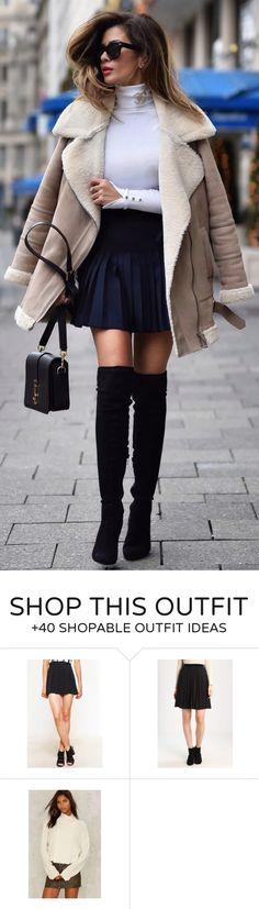 #winter #fashion /  White Turtleneck / Black Pleated Skirt / Black OTK Boots / Beige Faux Fur Coat