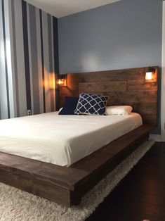 Floating Wood Platform Bed frame with Lighted Headboard-Quilmes by KnotsandBiscuits on Etsy https://www.etsy.com/listing/273412526/floating-wood-platform-bed-frame-with