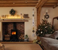 A lovely reader asked for a Christmas styled Border Oak home and so I searched my archives and found this - our home, decorated for Christma. Wood Burner Fireplace, Inglenook Fireplace, Fireplaces, Oak Mantle, Basement Fireplace, Fireplace Redo, Fireplace Ideas, Fireplace Design, Cottage Living Rooms