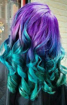 multi color blue hair - Google Search
