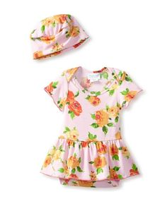 69% OFF Mad Sky Baby Skirted Romper with Hat (Big Lovely Roses) #apparel #Kids