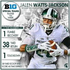 Congrats to Jalen Watts-Jackson, who has been named the Big Ten Special Teams Player of the Week! Big Ten Football, Michigan State Football, College Football Teams, Michigan State University, Football Helmets, Msu Spartans, Sports Baby, Team Player, Jackson