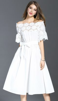 White Sash Lace Trim Midi Dress