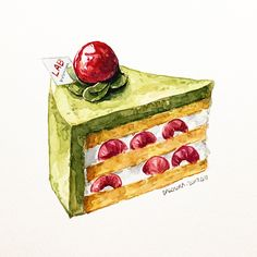 Food에 있는 karen wong님의 핀 - 2019 food art painting, watercolor Dessert Illustration, Illustration Art Nouveau, Food Art Painting, Art Couple, Cute Food Drawings, Chibi Food, Food Sketch, Food Cartoon, Watercolor Food