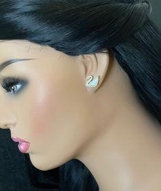 Dainty stud Earrings / CZ Stud earrings / Dainty Diamond stud earrings / Simple earrings Diamond Studs, Diamond Jewelry, Gold Jewelry, Simple Earrings, Stud Earrings, Product Life, Imitation Jewelry, Stone Gold, Temple Jewellery