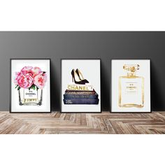 Set of 3 fashion posters Chanel Christian Louboutin, Watercolor,... (300 SEK) ❤ liked on Polyvore featuring home, home decor, wall art, inspirational posters, gold wall art, inspirational wall art, flower wall art and gold bottles
