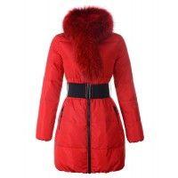 Moncler Lievre Designer Long Coat Womens Down Red