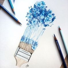 Terrific No Cost Blue Flowers illustration Thoughts Are you holding your backya. Terrific No Cost Blue Flowers illustration Thoughts Are you holding your backyard in the back yard? An individual cer Pencil Drawings Of Flowers, Blue Drawings, Pencil Art Drawings, Art Drawings Sketches, Realistic Drawings, Colorful Drawings, Drawing Flowers, Tattoo Sketches, Drawings With Colored Pencils