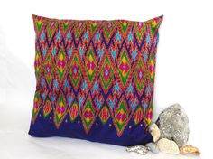 Peacock multi colour Thai silk cushion / pillow cover