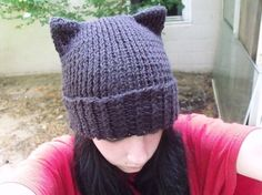 Knitted Cat Hat - I would never wear it, but it could be a nice gift.