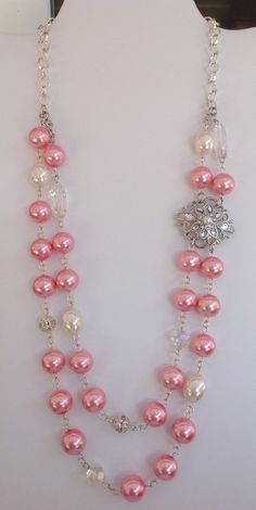 Handmade Double Stand Pink Glass Pearl Necklace on Etsy, $23.00