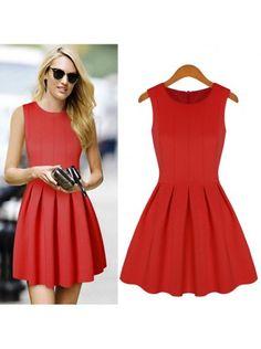 Gordania Red Solid Sleeveless Pleated Dress #Dress