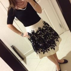 Make a combination look of sweet & sassy even sexy with a sweet full skirt (yes, it even has a bow in the back) and simple ballet slippers by adding in low neckline, leotard fitting  blouse and add drama with multi-stranded pearls. One of my favorite outfits, so fun and light With Pockets even! :)