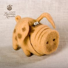 Comical felted pig - Why couldn't I use a small coffee can or oatmeal box to use as piggy bank? Have the cork in his butt?