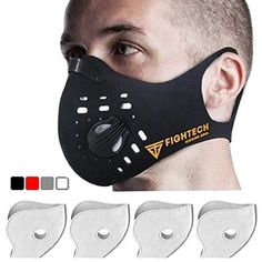 Anti-Pollution Dustproof/Dust Mask with 2 Valves and 4 Activated Carbon Filters. Filtration of Exhaust Gas Pollen Allergy and Cycling Face Mask for Outdoor Activities by FIGHTECH (BLK) Dust Allergy, Allergy Mask, Half Face Mask, Diy Face Mask, Face Masks, Mask Online, Activated Carbon Filter, Mouth Mask, Face Shapes