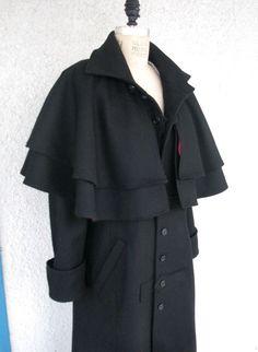 Lengthen cape, add deep hood.