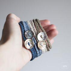 Textile Jewelry. Boho Friendship bracelet. Wrapped linen