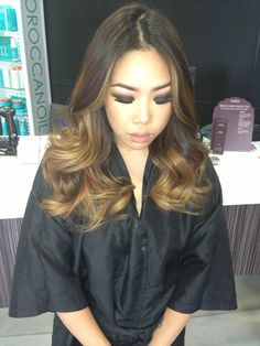 Ombré on beautiful Asian hair. Heavy balayage highlights.