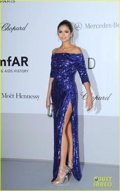 Nina Dobrev - amfAR Cannes Gala 2012 Elie Saab dress, Jimmy Choo sandals and Bulgari jewels