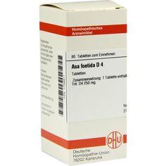 ASA FOETIDA D 4 Tabletten:   Packungsinhalt: 80 St Tabletten PZN: 01758911 Hersteller: DHU-Arzneimittel GmbH & Co. KG Preis: 5,95 EUR…