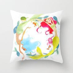 Mermaid Circle Throw Pillow by Whitney Pollett - $20.00