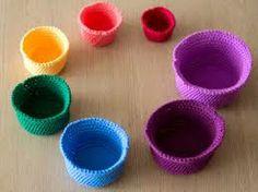 Crochet a Gorgeous Set of Rainbow Nesting Baskets - Tuts+ Crafts & DIY Tutorial. Great for organizing things in Zane's room :) Crochet Bowl, Crochet Basket Pattern, Knit Or Crochet, Crochet For Kids, Crochet Patterns, Crochet Baskets, Single Crochet, Crochet Geek, Double Crochet