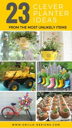 I love the idea of making planters out of the most unlikely items for your herbs and planters. Here are 23 planter ideas that will give your home and garden that unique touch this summer!