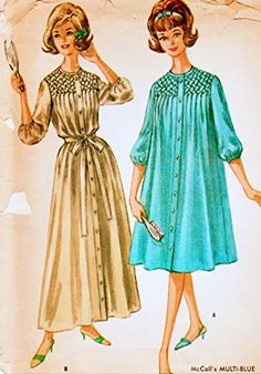 McCall's 6616 Misses Smocked Robe Transfer Included Vintage Sewing Pattern Check Offers for Size McCall's Smocking Patterns, Sewing Stores, Vintage Sewing Patterns, Sewing Crafts, Check, Shopping, Fashion, Sketch, Dress