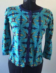 $118 Anthropologie Tabitha Aquascope 3 4 Sleeve Button Down Sweater Sz M Cotton | eBay