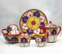 Wholesale hand painted ceramic tableware include tea set mug plate and bowl set