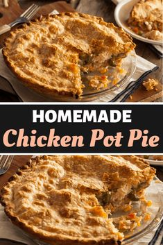 This homemade chicken pot pie is the ultimate comfort food! Packed with juicy chicken vegetables a creamy sauce and topped with a flaky golden pie crust. Pie Recipes, Casserole Recipes, Chicken Recipes, Cooking Recipes, Easy Recipes, Dinner Recipes, Salad Recipes, Dessert Recipes, Chicken