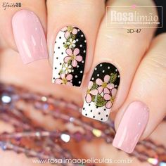 We have combined the most fashionable nail designs for you. If you want to have very nice quotes this summer, you should definitely look at these models. you are sure that one of these models is your style! Floral Nail Art, Pink Nail Art, Purple Nails, Acrylic Nail Designs, Nail Art Designs, Cute Nails, Pretty Nails, Hair And Nails, My Nails