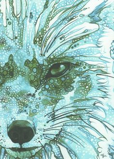 Ice Blue Fox 4 x 6 print of detailed by DeepColouredWater on Etsy, $5.00