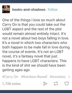 This is very true and one of the reasons I love the book. It has a real plot with action and adventure. It's not just a gay romance novel, or even a traditional romance novel, it's a story.