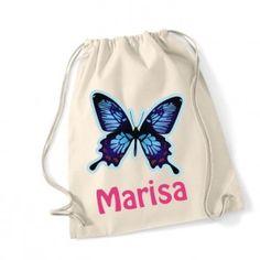 Prácticas mochilas de algodón 100% de color natural (tamaño 46 cm de alto x 38 cm de ancho) personalizadas con nombre y motivo colorido. 15.00€ ¡gastos de envío GRATIS!