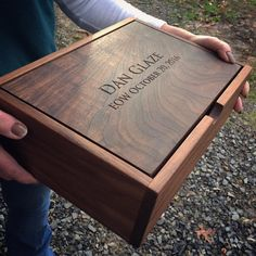 A walnut pivot lid box custom engraved, for memories of someone special. A walnut pivot lid box custom engraved, for memories of someone special. Diy Wood Box, Small Wooden Boxes, Diy Box, Wood Boxes, Wooden Jewelry Boxes, Wood Box Design, Book Design, Design Design, Painted Wine Bottles