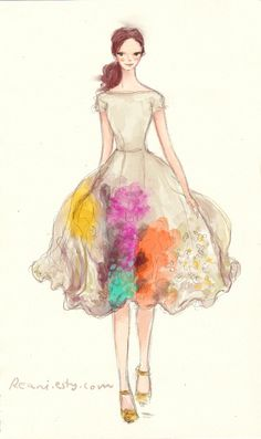 Fashion Illustration with Custom Blog Banner Design by Reani on Etsy on Etsy, $295.00