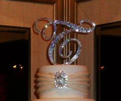 FREE SHIPPING 6 Swarovski Crystal Monogram Cake by Chicsparkles