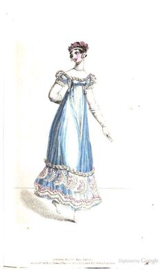 summer recess ball dress. La belle assemblee 1818 July.   of white crape or venetian gauze. border of double Indian roses in a beautiful pink colour intermingled with crape leaves and pearls. The body in the Oriental style with short sleeves finishing closer to the elbow than formerly, finished with a trimming of broad blond. Head dress of a double wreath of Indian roses with braids of hair wound round the summit of the head. White satin shoes, white kid gloves.