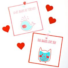Get these free printable owl and whale cards for your Valentine!