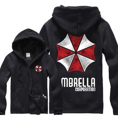 Resident Evil Umbrella Corporation Hoodie Jacket Coat Costume Cosplay Unisex Size 2 Color (Dh14)
