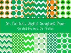 St Patrick's Day Scrapbook Paper Pack - FREEBIE - Mrs Ds Firsties - TeachersPayTeachers.com
